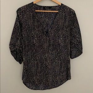 41 Hawthorn navy blue patterned blouse